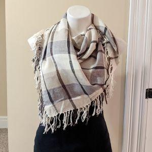 Vintage Echo plaid fringed blanket scarf.